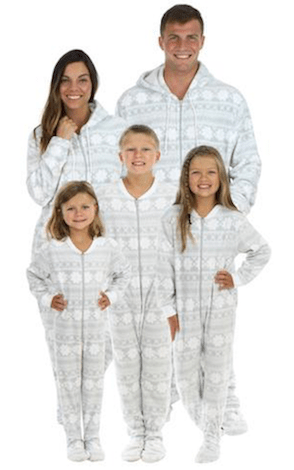 Family Matching Grey Snowflake Footed Onesie PJs