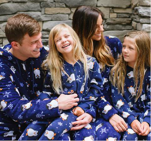 Family Matching Holiday Penguin Fleece Onesie Footed PJs