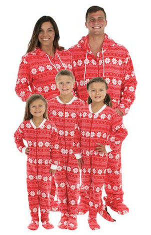 Family Matching Red Snowflake Footed Onesie PJs