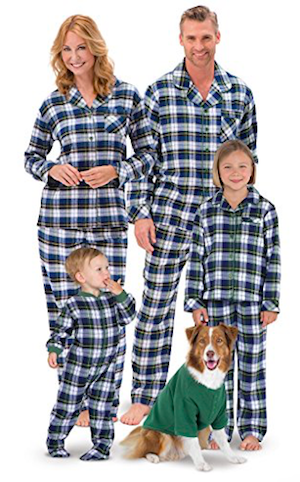 Flannel Tartan Plaid Button-Front Matching Family Pajamas
