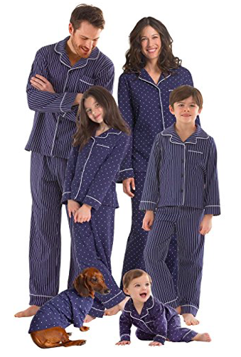 Navy Blue Dots and Stripes Matching Family Pajamas