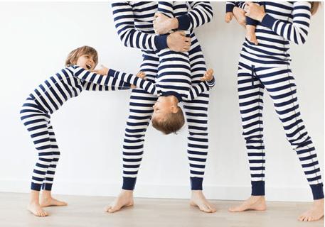 Striped Navy Blue Family Matching Hanukkah Pajamas