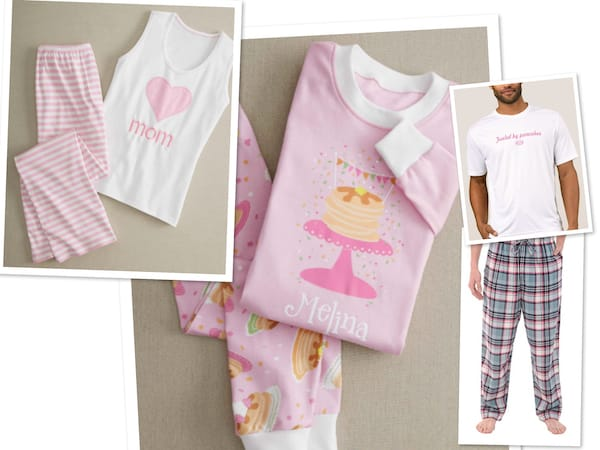 Mommy Daddy and Daughter Family Pancake and Pajamas Party Sleepwear, Family Matching Pancake, Donut and Cupcake Pajamas