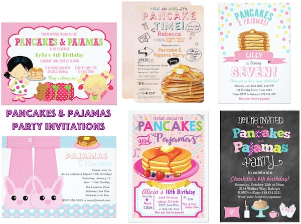Pancakes and Pajamas Party Invitations
