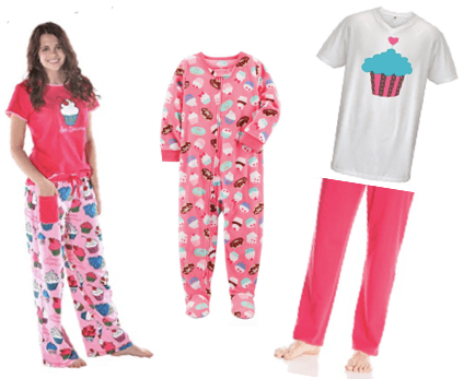 Mommy, Daddy & Me Pink Cupcake Pajamas,Family Matching Pancake, Donut and Cupcake Pajamas