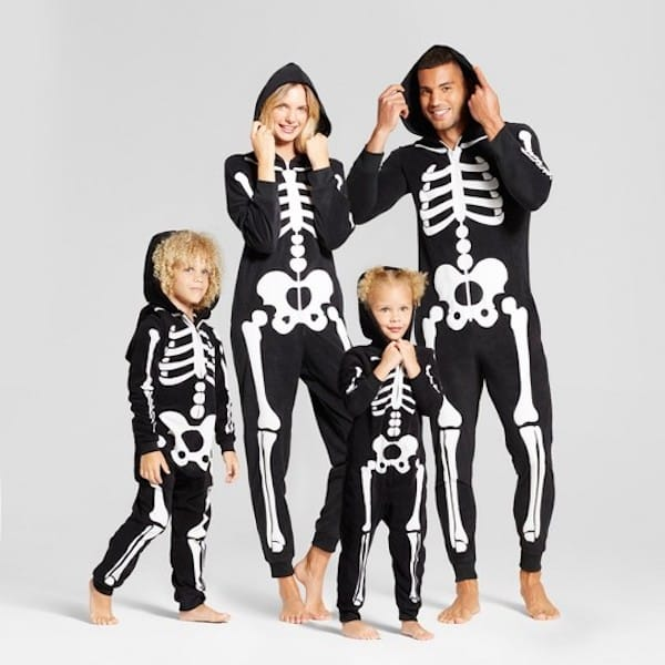Skeleton Family Hooded Halloween Pajamas