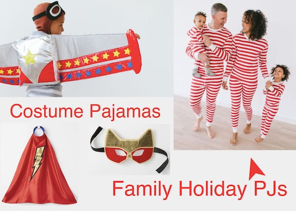 Transform Halloween Costume Pajamas into Family Matching Christmas Morning Pajamas