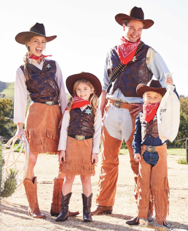 Family Matching Cowboy and Cowgirl Halloween Costumes