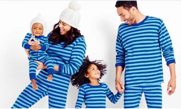 Classic Stripes in Blue Organic Cotton Family Matching Pajamas