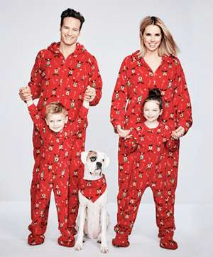 Family Matching Footed Reindeer Holiday Pajamas