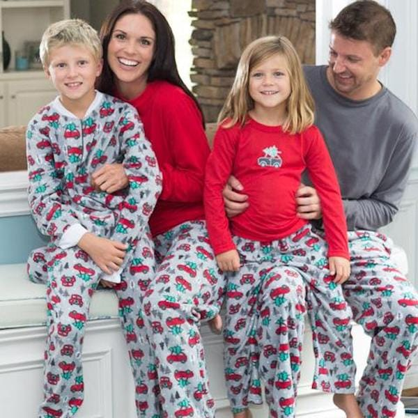 Family Matching Holiday Fleece Pajamas Christmas Tree Going Home