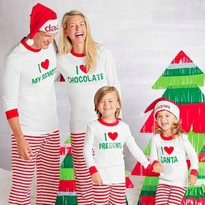 Family Matching Holiday Personalized I Heart Santa Pajamas