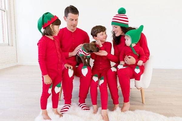 Matching Family Red Union Suit with Santa Appliqué Pajamas