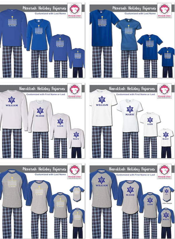 Personalized Family Matching Hanukkah Pajamas