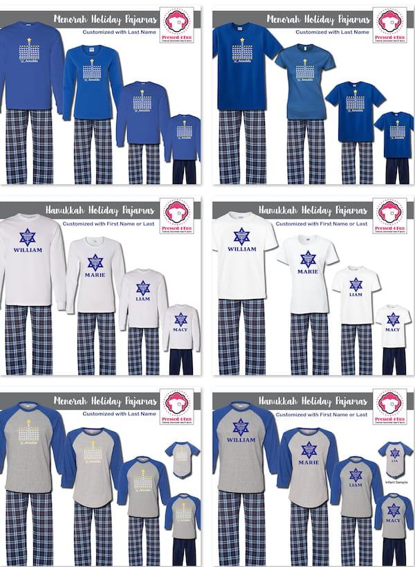 Personalized Family Matching Hanukkah Pajamas