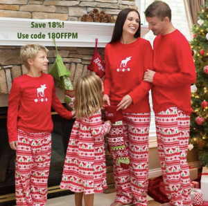 Family Matching Moose Fleece Holiday Pajamas