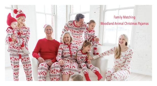 Family Christmas Pajamas With Dog.Woodland Animal Christmas Pajamas Family Holiday Pjs