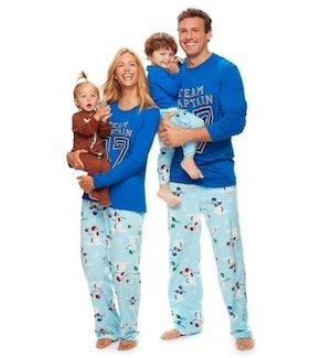 Football Blue Matching Family Holiday Pajamas
