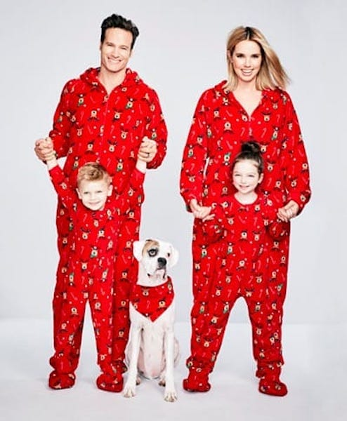 Footie Reindeer Family Holiday Matching Pajamas