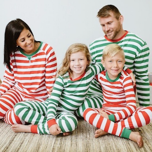 Green and Red Striped Matching Family Christmas Pajamas
