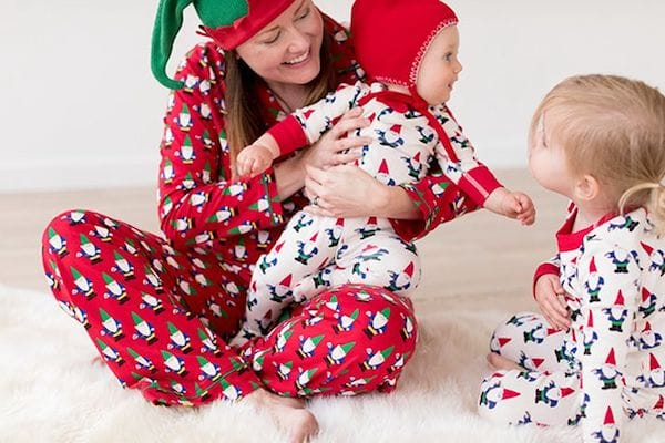 Mommy and Me Matching Red and White Gnome Christmas Pajamas