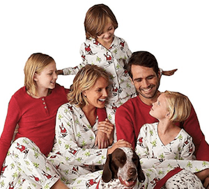 Santa Skiing Matching Family Christmas Pajamas