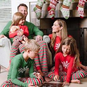 Snowflake Christmas Stripes Family Matching Pajamas