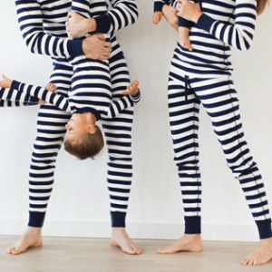 Striped Navy Blue Family Matching Hanukkah Pajamas