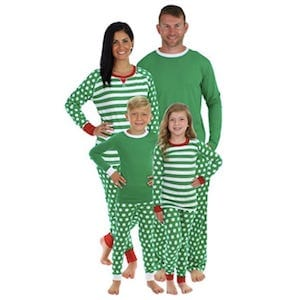 Stripes And Polka Dots Green Family Matching Pajamas