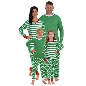 Stripes And Polka Dots Green Family Matching Pajamas
