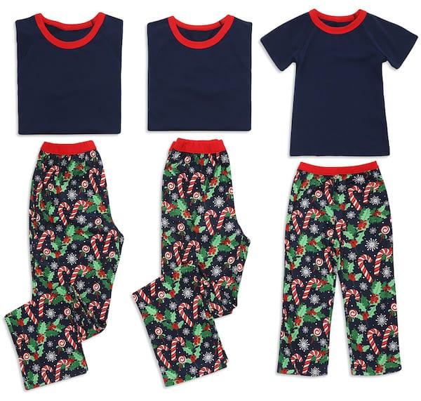 Candycane Print Short-sleeve Family Matching Christmas Pajamas