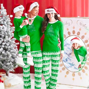 Green Festival Pattern Family Matching Holiday Pajama Set