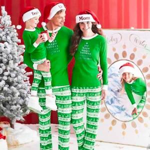 Green Festival Pattern Family Matching Holiday Pajama Set