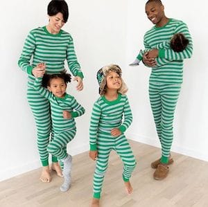 Green Striped Family Matching Pajamas