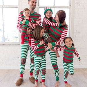 Merry Green And Red Family Matching Christmas Pajamas