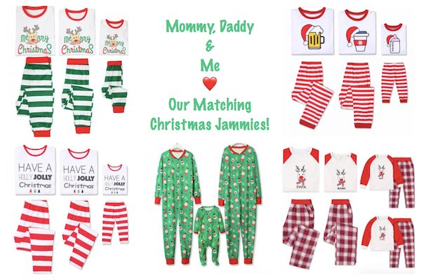 Mommy Daddy and Me Love Our Christmas Jammies.