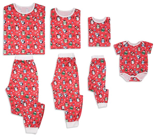 Penguin Print Short-sleeve Family Matching Christmas Pajamas