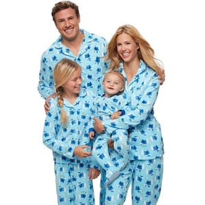 Polar Bear Blue Matching Family Pajamas Hanukkah and Christmas