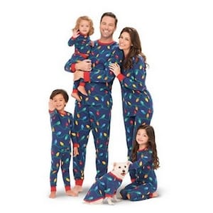 Christmas lights family matching pajamas