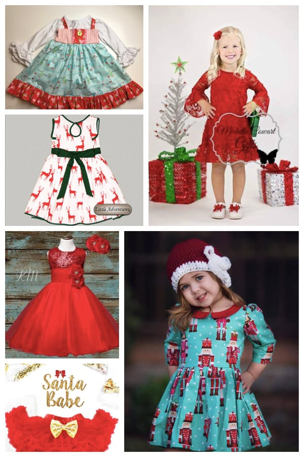 Little Girl Christmas Print Holiday Dresses