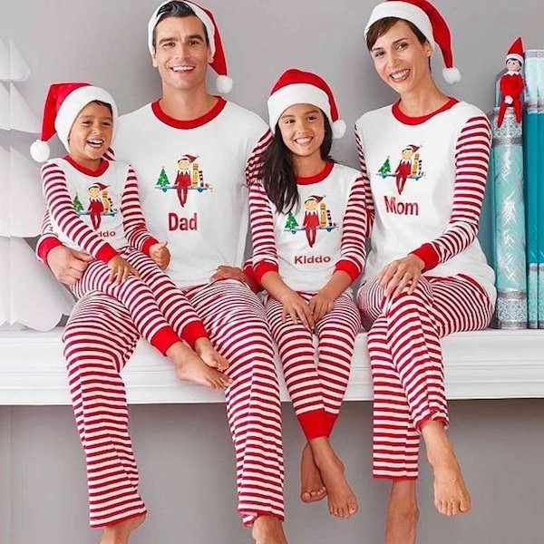 Mom Dad Kiddo Elf on a Shelf Christmas Pajamas