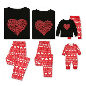 Red hearts valentines day pajamas