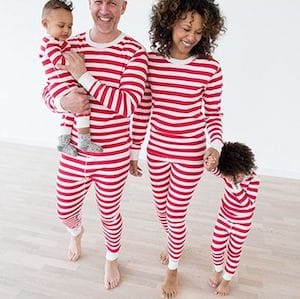 Red stripes valentines day family pajamas