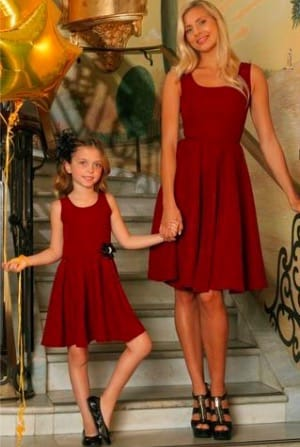 Dark red valentines day matching dresses
