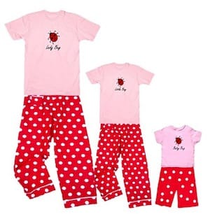 Ladybug luck valentines family matching pajamas