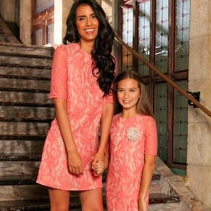 Pink flower lace valentines matching dresses