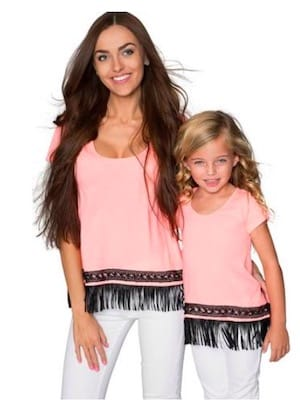 Pink fringe valentines matching outfit