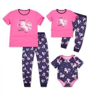 Pink unicorn family matching pajamas