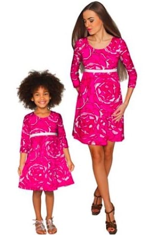 Hot pink valentines roses mom and me dresses