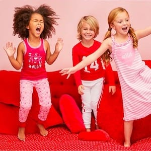Valentines day family matching pajamas for kids